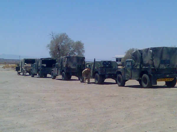 Army convoys in Amboy and Roy's Cafe