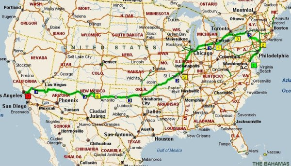 Travel Map of our Route 66