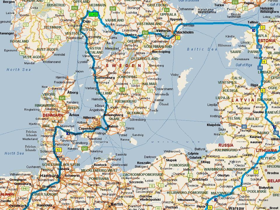 Kart europa kjørerute