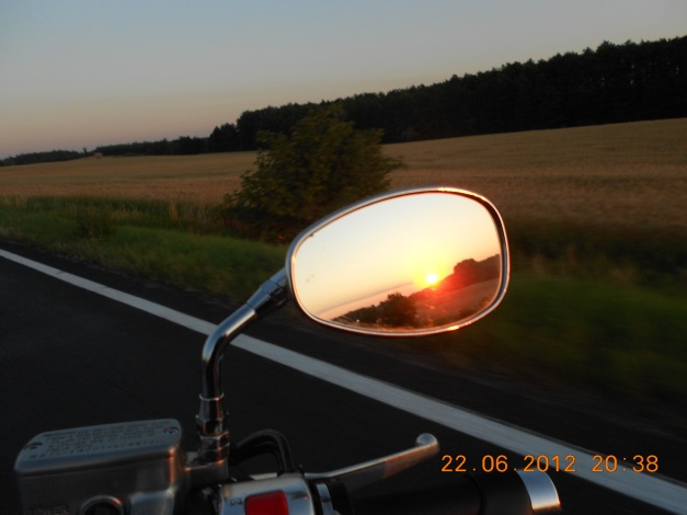 The sunset in the mirror