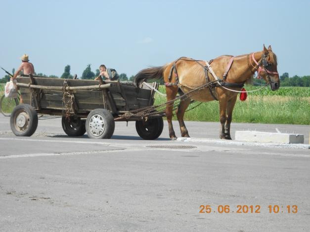 Hest og vogn til bensinstasjonen i Romania er ikke uvanlig